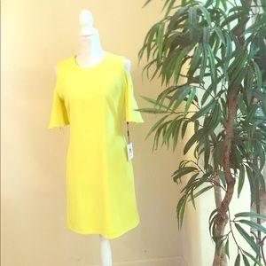 New Calvin Klein Yellow Cold Shoulder Sheath Dress